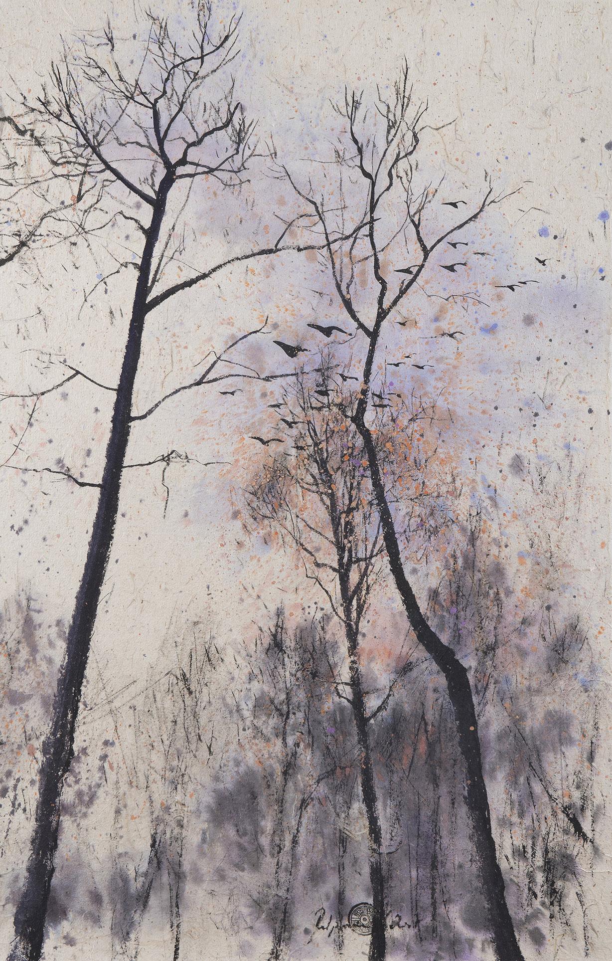 Peinture Encre de Chine et pigments arbre et oiseaux