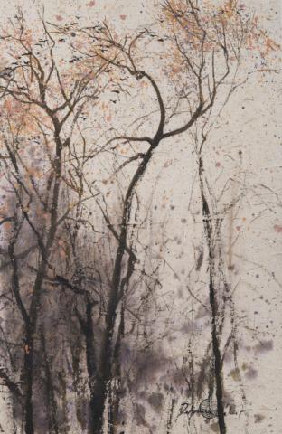 Peinture Encre de Chine et pigments Arbres et oiseaux