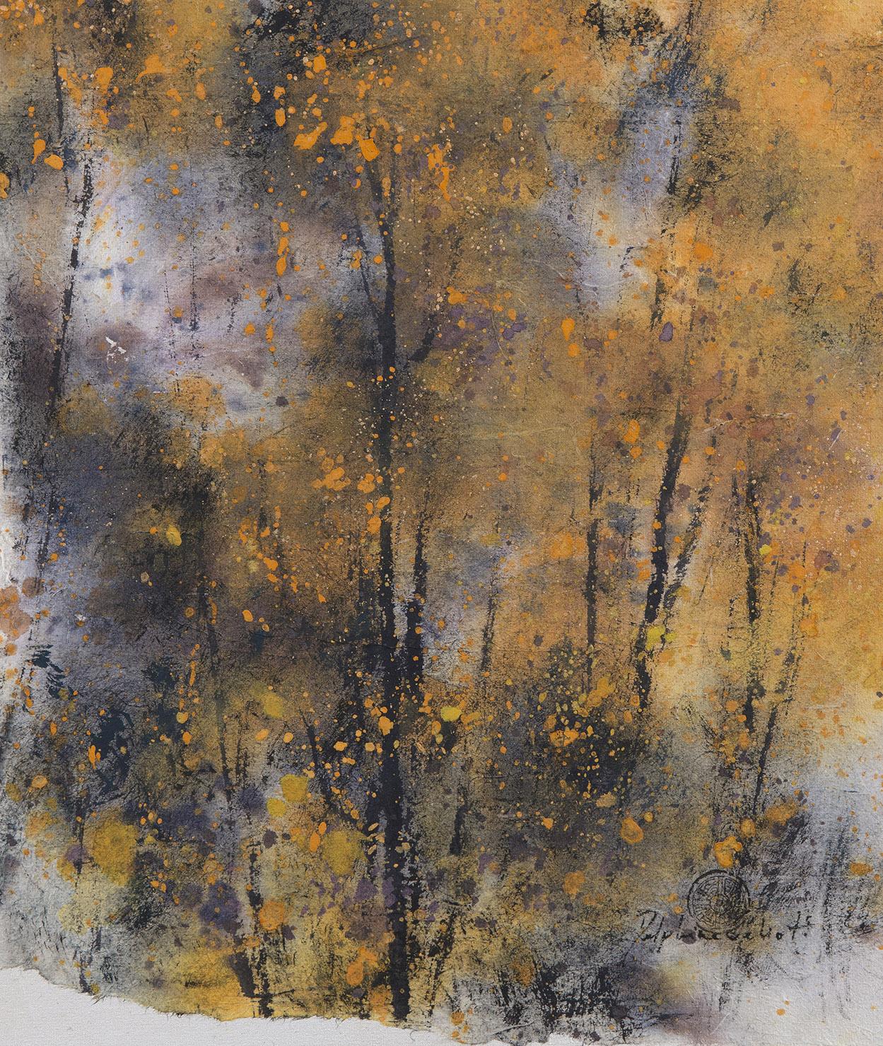 Peinture Encre de Chine et pigments Arbres d'automne