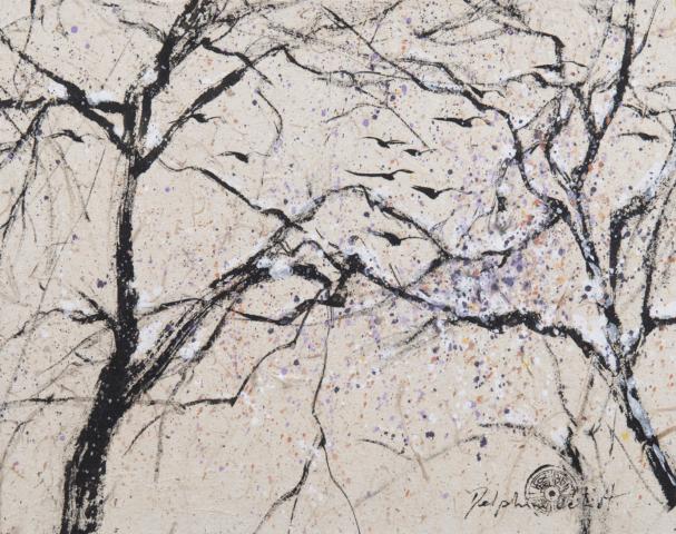 Peinture Encre Arbres sous la neige