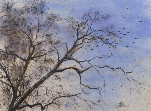 Peinture Encre  Arbre aux oiseaux