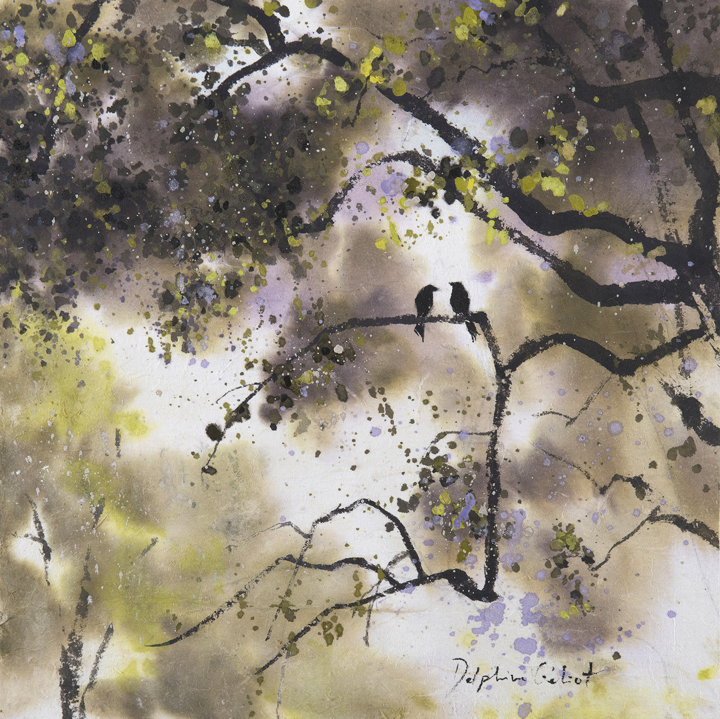 Encre et pigments paysages deux oiseaux