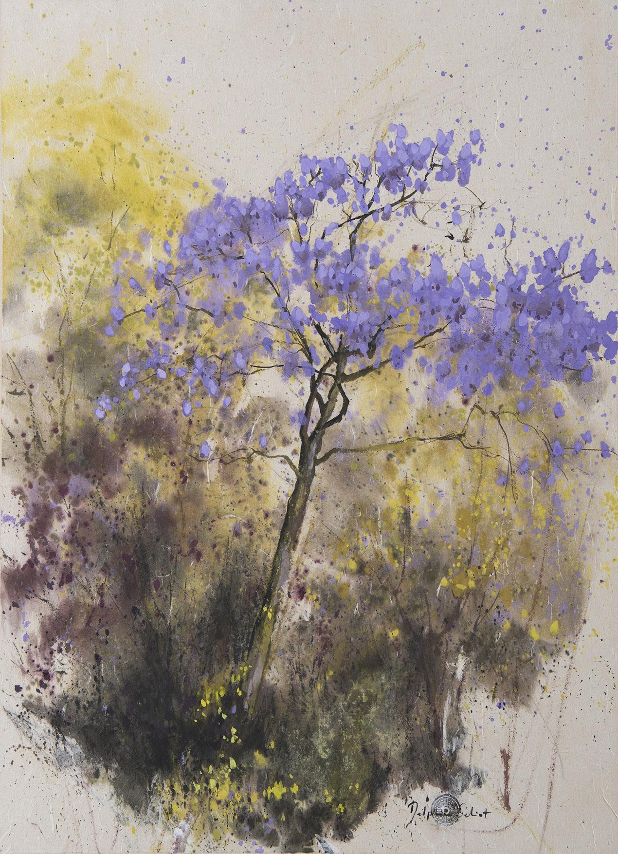 Encre et pigments arbre en fleurs