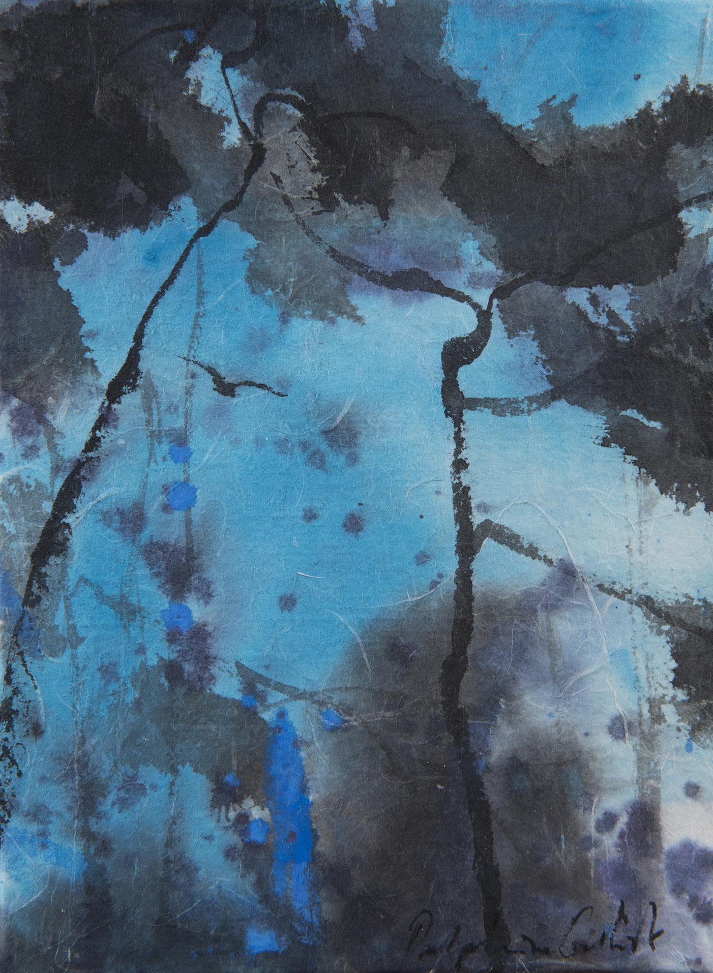 Encre et pigments sur papire de riz Delphine Geliot