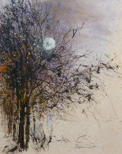Encre lune dans les arbres