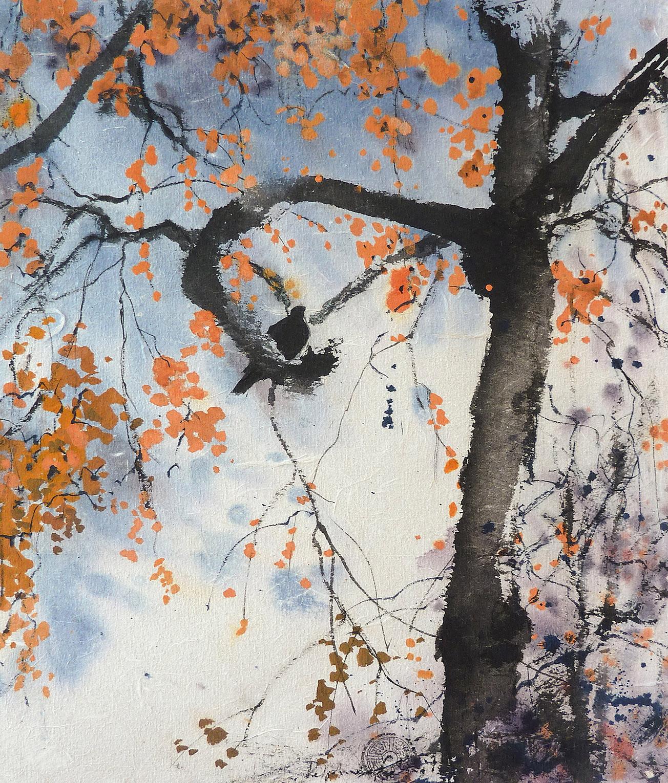 Peinture Encre Arbre et oiseau