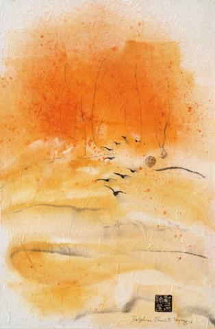 Peinture paysage oiseaux à l' encre