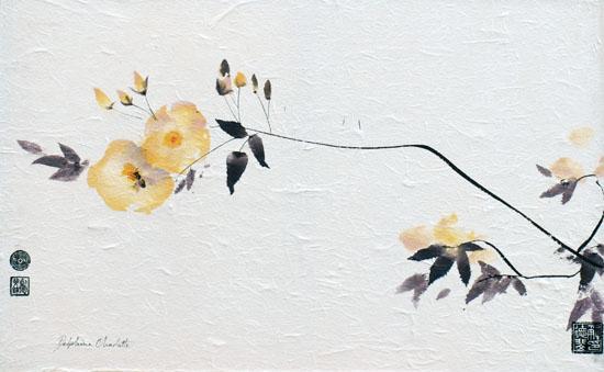 Peinture d'arbres et de fleurs