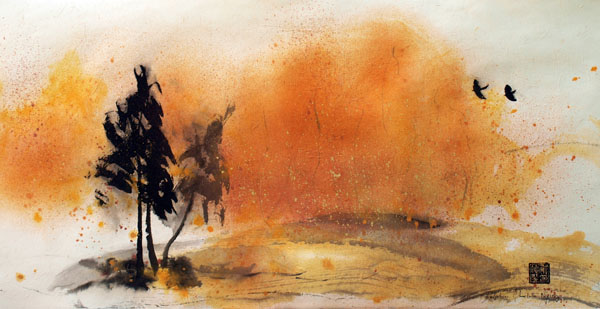 Peinture Encre de Chine et pigments paysage