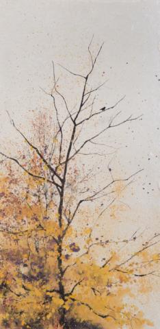 Peinture Encre de Chine et pigments oiseau sur la branche