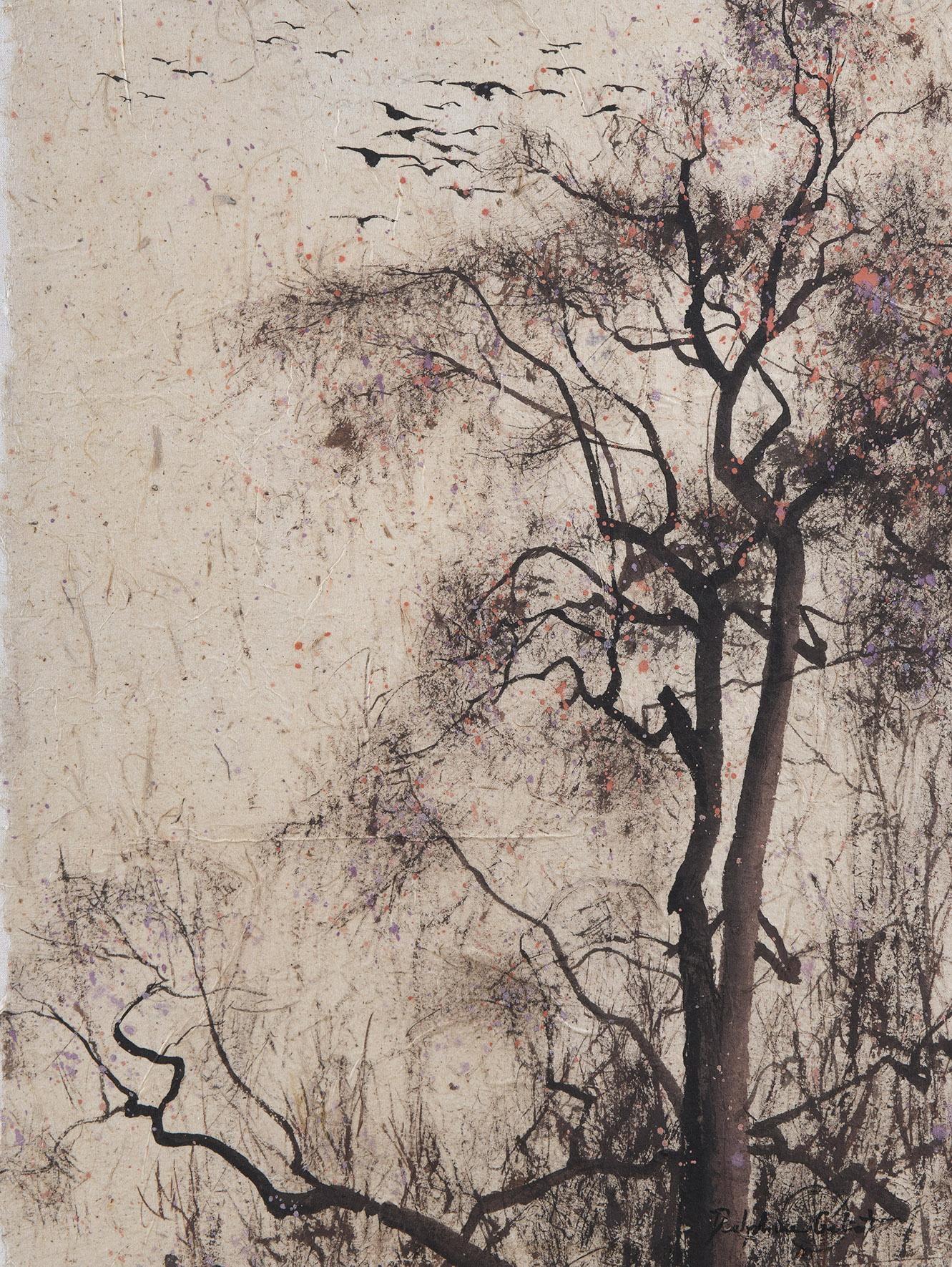 Peinture Encre de Chine et pigments sur papier Arbre aux oiseaux