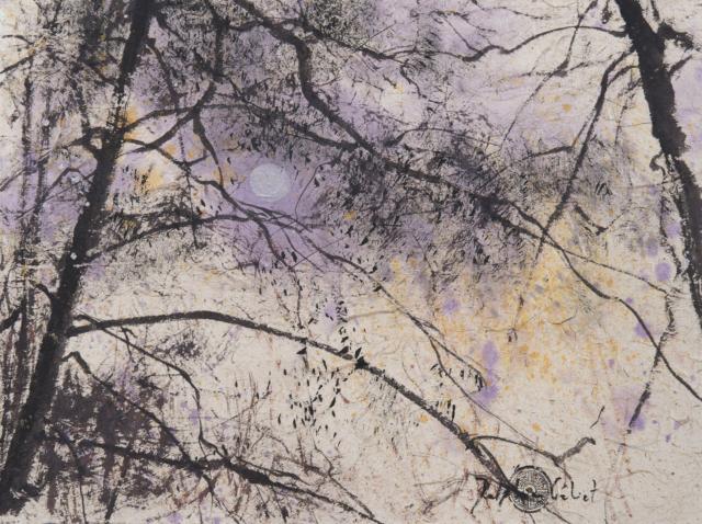 Peinture Encre de Chine et pigments Arbres et lune