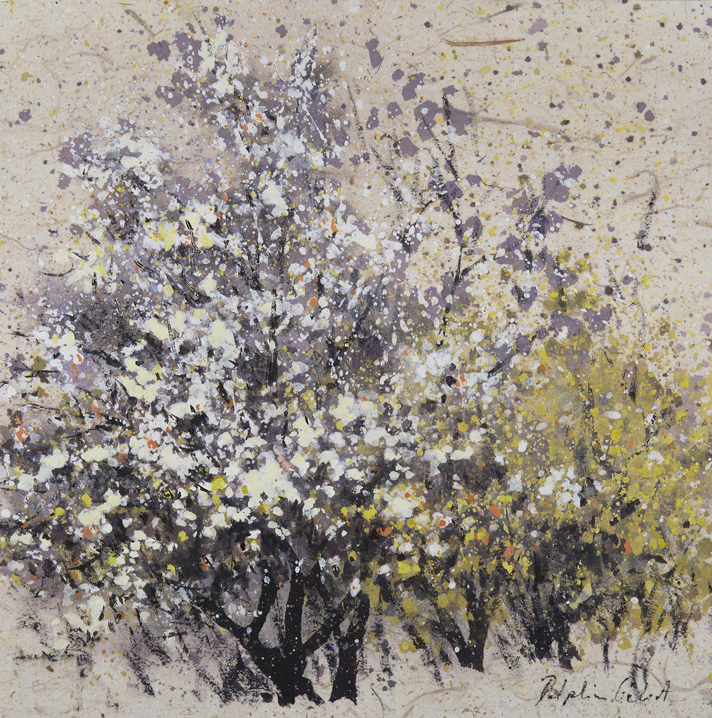Encre et pigments arbres en fleurs