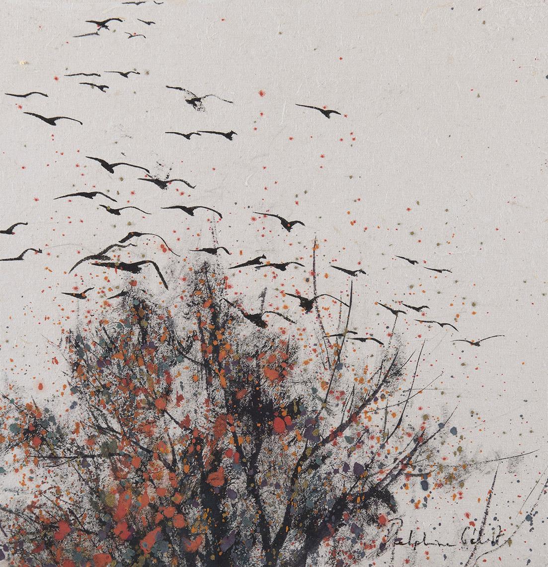 Encre et pigments arbre et oiseaux