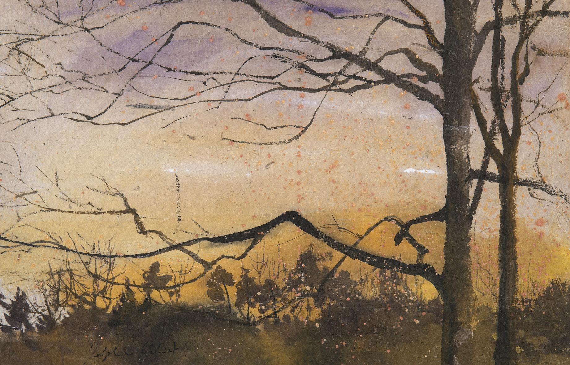 Encre et pigments paysage forêt