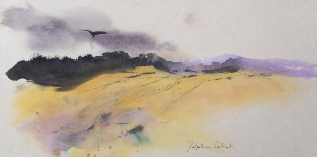 Encre et pigments paysage et oiseau