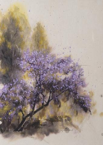 Encre et pigments arbre en fleur