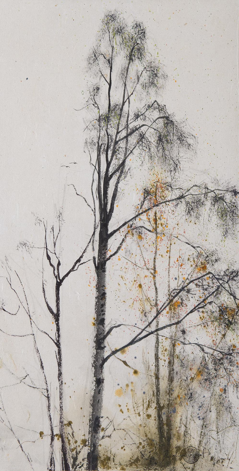 Encre et pigments Arbres d'hiver