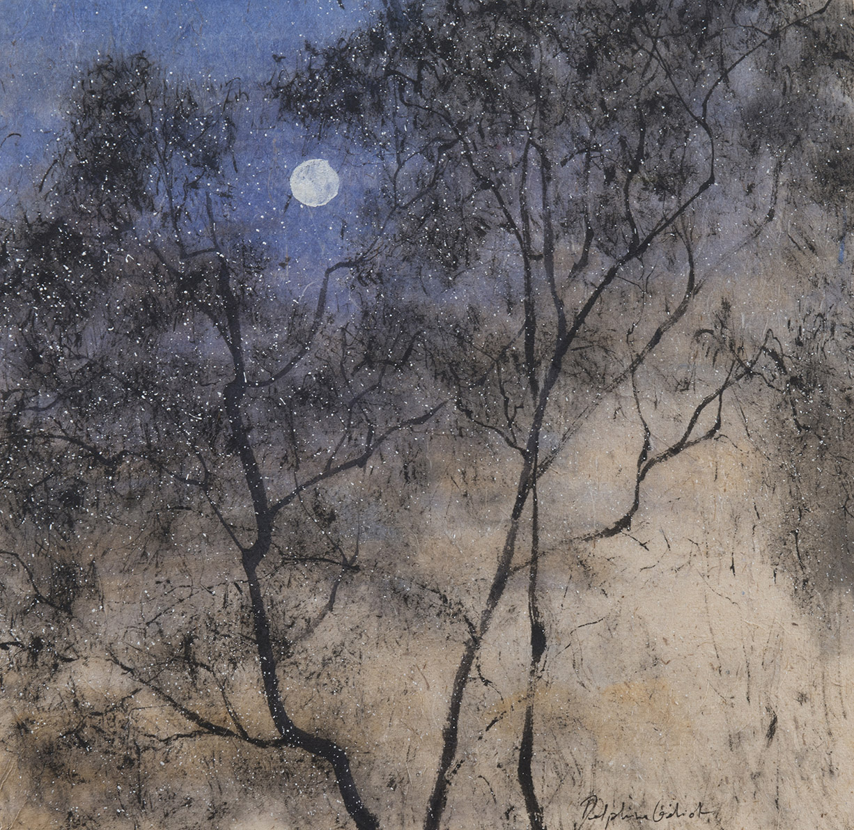 Arbres lune Encre et pigments