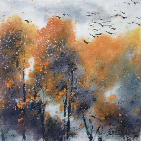 Peinture Encre de Chine et pigments Arbres automne